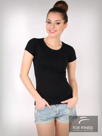 Czarny basicowy t-shirt For Fitness                                  zdj.                                  3