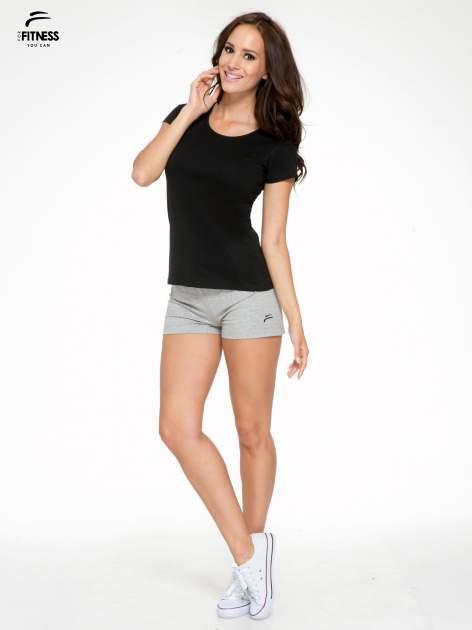 Czarny bawełniany t-shirt damski typu basic                                  zdj.                                  5