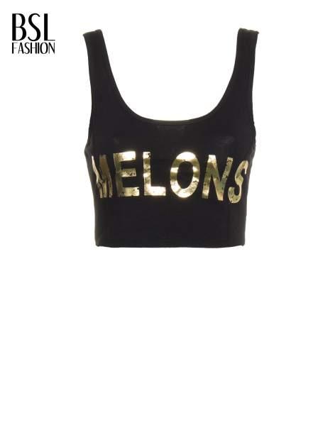 Czarny crop top ze złotym nadrukiem MELONS