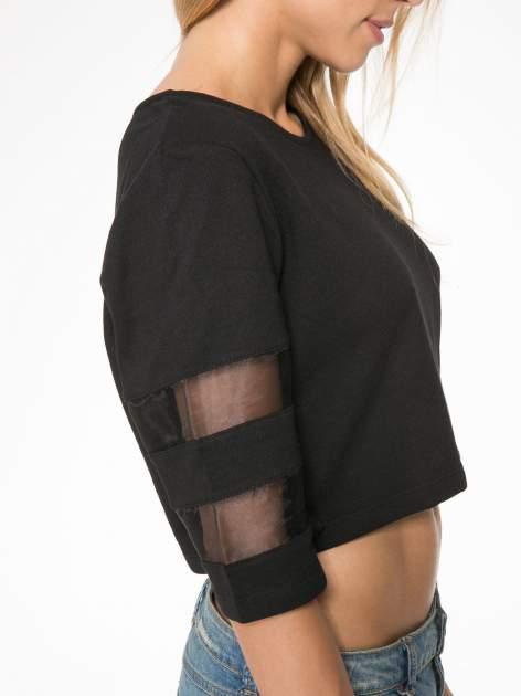 Czarny cropped t-shirt z transparentnymi rękawami                                  zdj.                                  6