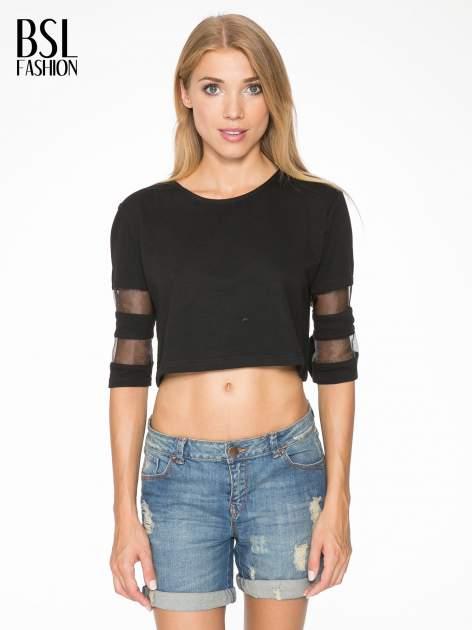Czarny cropped t-shirt z transparentnymi rękawami                                  zdj.                                  1