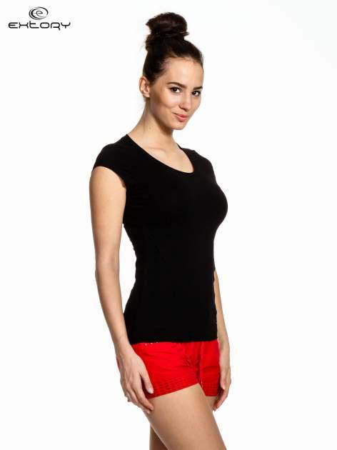 Czarny damski t-shirt sportowy basic                                  zdj.                                  3