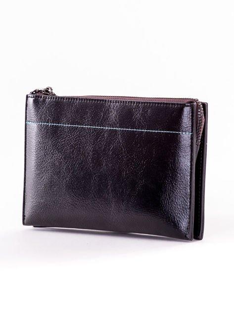 Czarny długi portfel kopertówka na zamek                              zdj.                              3