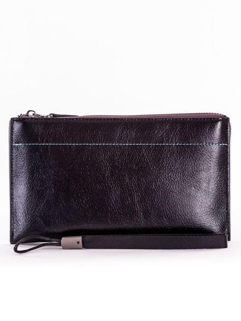 Czarny długi portfel kopertówka na zamek                              zdj.                              5
