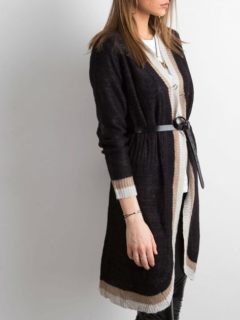 Czarny długi sweter damski z dzianiny                              zdj.                              5