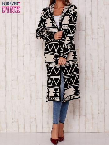 Czarny długi sweter motywy geometryczne                                  zdj.                                  3
