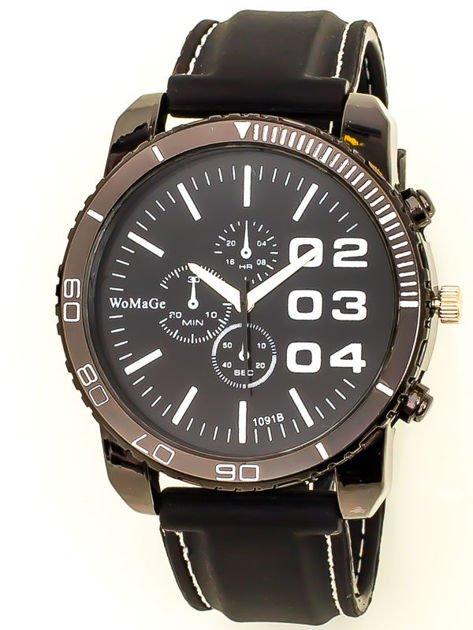 Czarny duży zegarek męski na silikonowym wygodnym pasku z białymi wstawkami                              zdj.                              1