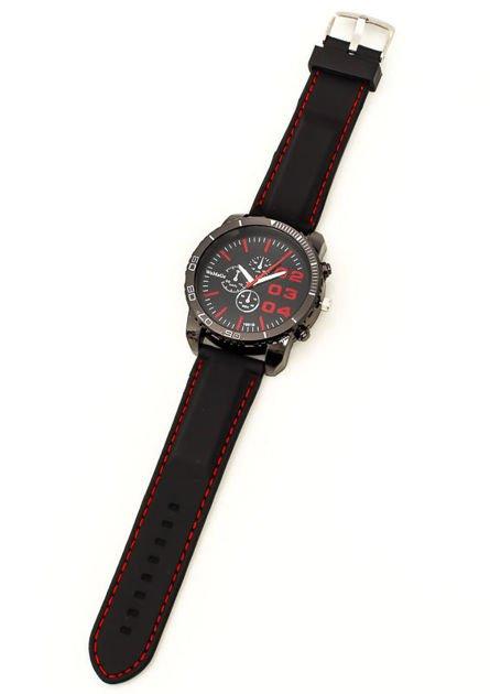 Czarny duży zegarek męski na silikonowym wygodnym pasku z czerwonymi wstawkami                              zdj.                              3