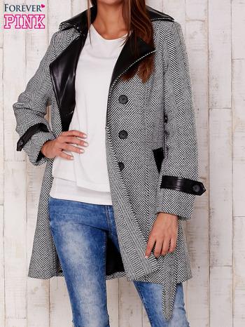 Czarny dwurzędowy płaszcz w jodełkę ze skórzanymi wstawkami                                  zdj.                                  4