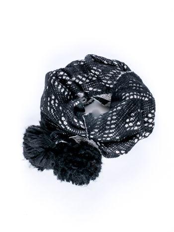 Czarny dwustronny szalik z pomponami                                  zdj.                                  2