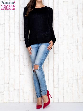 Czarny dzianinowy sweter o szerokim splocie                                  zdj.                                  2