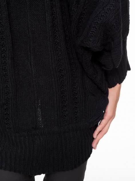Czarny dziergany sweter typu otwarty kardigan                                  zdj.                                  8