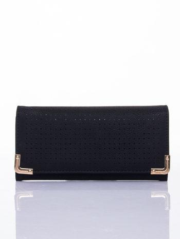 Czarny dziurkowany portfel ze złotym wykończeniem                                  zdj.                                  1