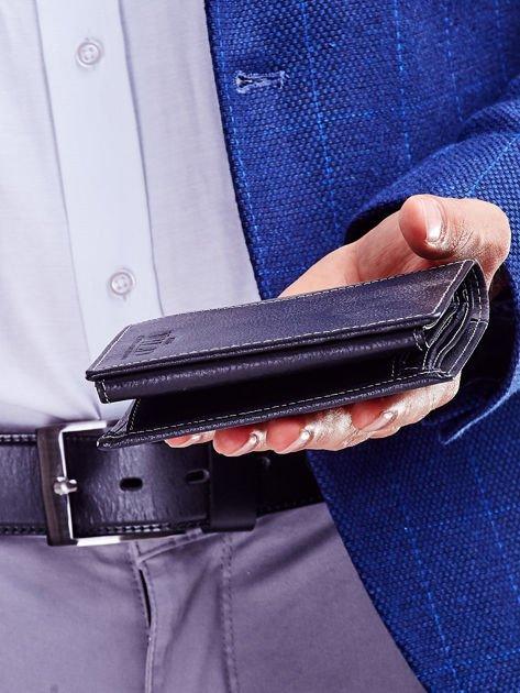 Czarny elegancki portfel dla mężczyzny z łączonych materiałów                              zdj.                              4