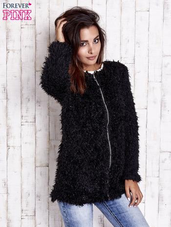 Czarny futrzany sweter kurtka na suwak                                  zdj.                                  2