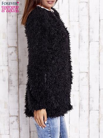 Czarny futrzany sweter kurtka na suwak                                  zdj.                                  5