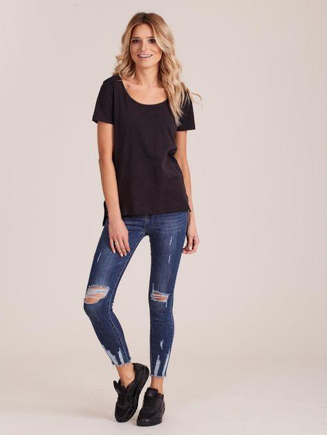 Czarny gładki t-shirt damski                              zdj.                              4