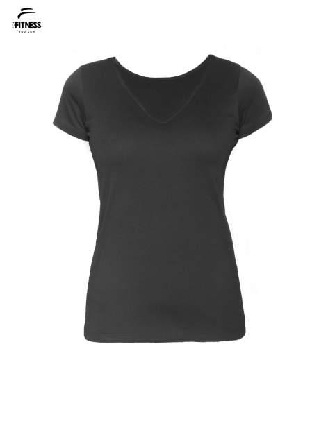 Czarny gładki t-shirt z dekoltem w serek                                  zdj.                                  5