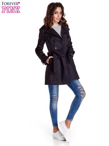 Czarny klasyczny płaszcz typu trencz                                  zdj.                                  9