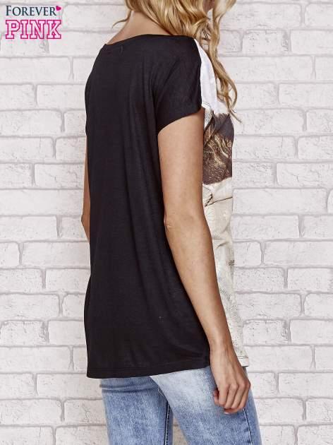 Czarny koronkowy t-shirt z nadrukiem dziewczyny                                  zdj.                                  2