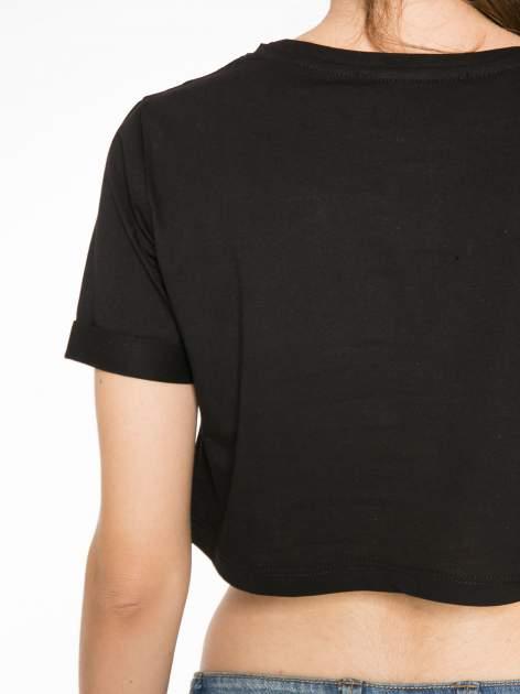 Czarny krótki t-shirt przed pępek z napisem BOY LONDON                                  zdj.                                  10