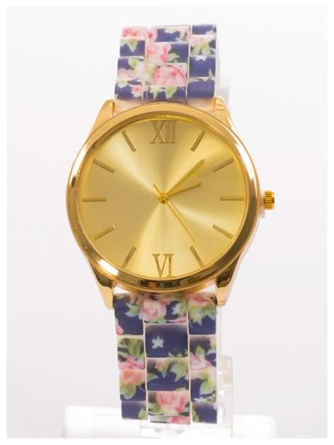 Czarny kwiatowy zegarek damski ze złotą tarcżą                                  zdj.                                  1