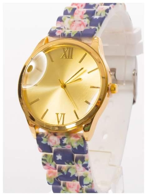 Czarny kwiatowy zegarek damski ze złotą tarcżą                                  zdj.                                  2