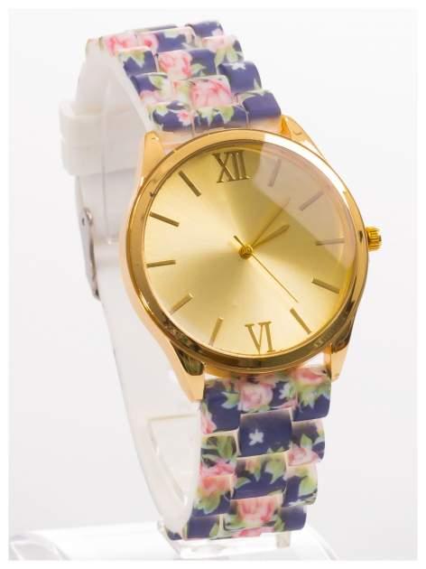 Czarny kwiatowy zegarek damski ze złotą tarcżą                                  zdj.                                  3
