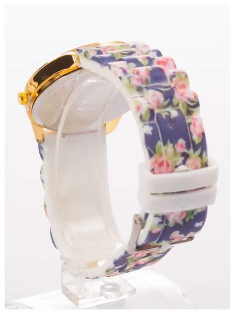 Czarny kwiatowy zegarek damski ze złotą tarcżą                                  zdj.                                  4
