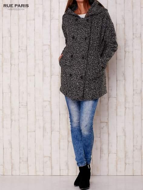Czarny melanżowy płaszcz w literę A z kapturem                                  zdj.                                  6