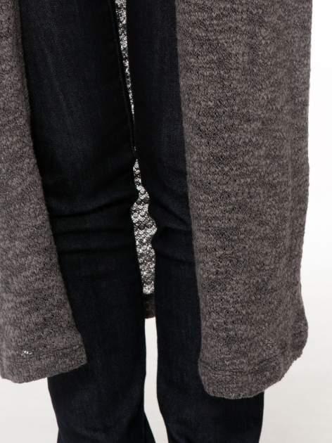 Czarny melanżowy sweter typu długi kardigan                                  zdj.                                  6