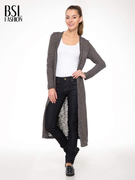 Czarny melanżowy sweter typu długi kardigan                                  zdj.                                  2