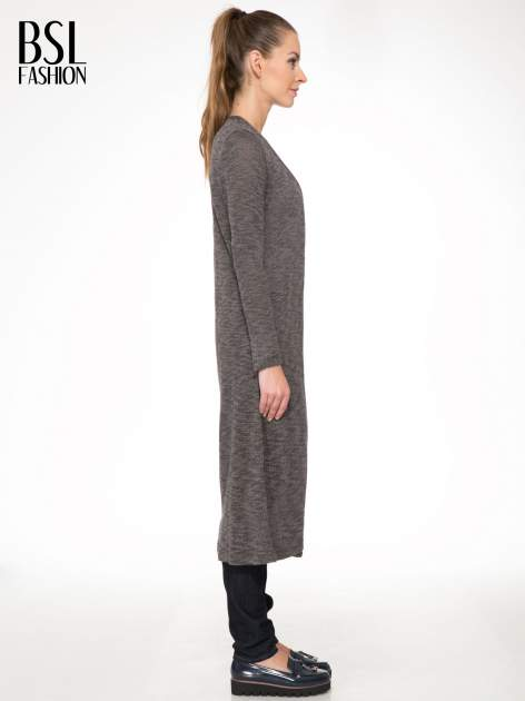 Czarny melanżowy sweter typu długi kardigan                                  zdj.                                  3