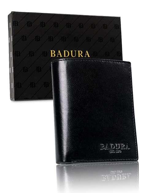 Czarny męski portfel BADURA
