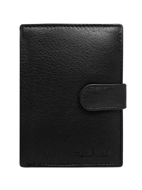 Czarny męski portfel skórzany z klapką                              zdj.                              1