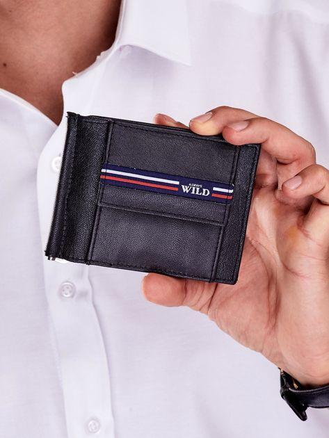 Czarny męski portfel skórzany z zewnętrzną kieszenią