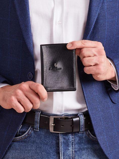 Czarny męski portfel z tłoczeniem                              zdj.                              1