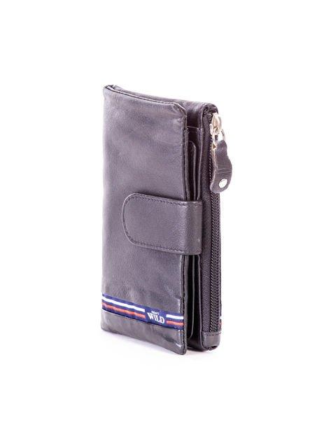 Czarny miękki portfel ze skóry naturalnej z kieszenią na suwak                              zdj.                              3