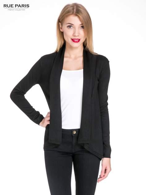 Czarny otwarty sweter narzutka z dłuższym tyłem
