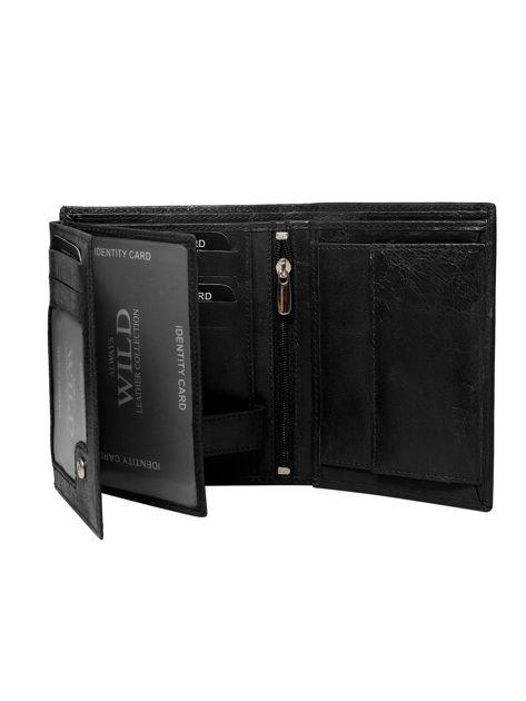 Czarny pionowy portfel męski z tłoczeniem                              zdj.                              2