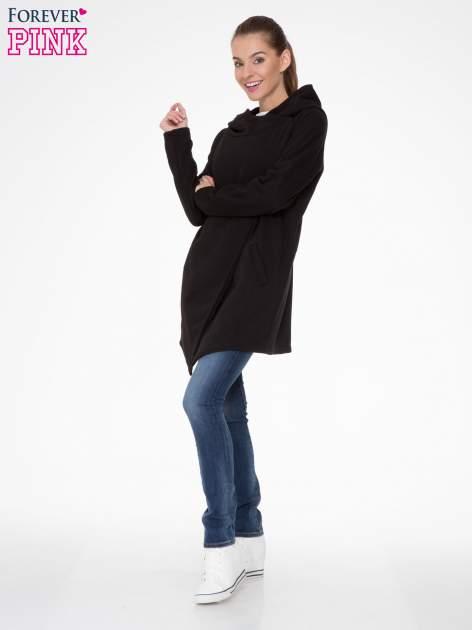 Czarny płaszcz dresowy z kapturem                                  zdj.                                  2