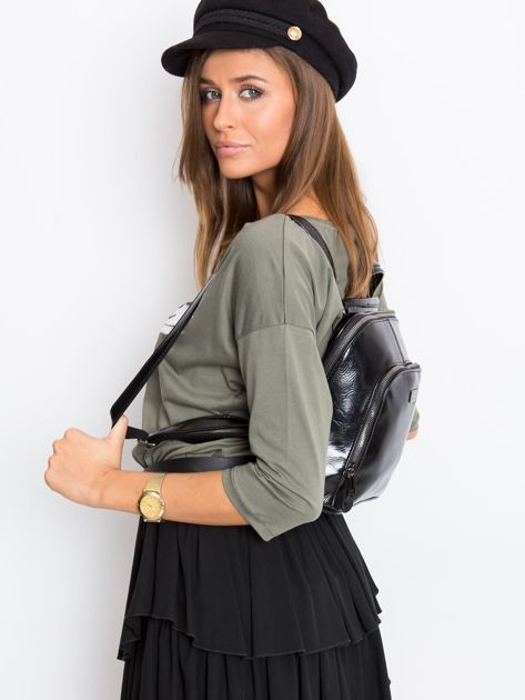 Czarny plecak damski ze skóry ekologicznej                              zdj.                              5