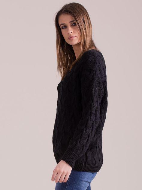 Czarny pleciony sweter                               zdj.                              3