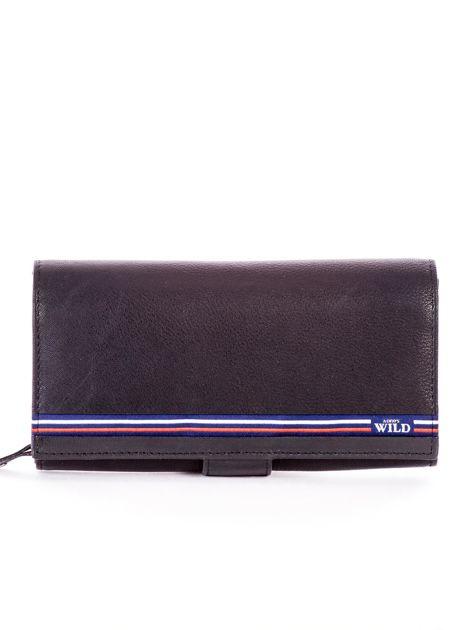 Czarny podłużny skórzany portfel z klapką                              zdj.                              1