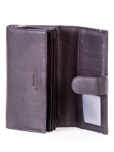 Czarny podłużny skórzany portfel z klapką                              zdj.                              5
