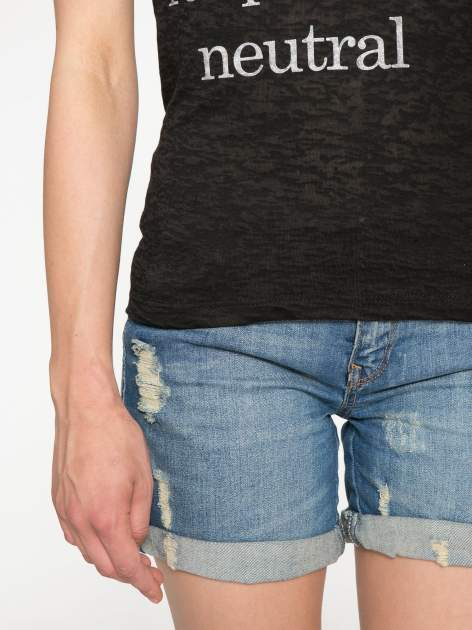 Czarny półtransparentny t-shirt z napisem                                  zdj.                                  6