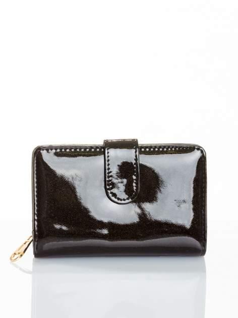 Czarny portfel efekt skóry saffiano                                  zdj.                                  1