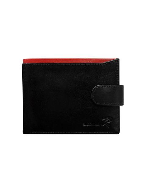Czarny portfel skórzany męski z czerwonym wykończeniem                              zdj.                              1