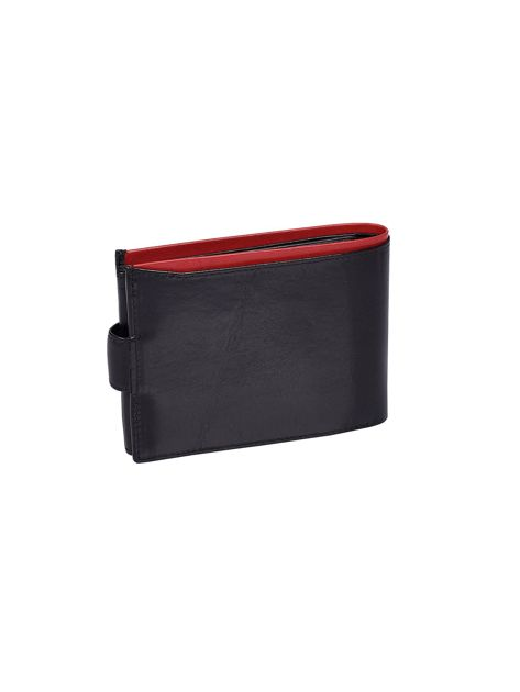 e9c6d0b8189bb Czarny portfel skórzany męski z czerwonym wykończeniem - Mężczyźni ...