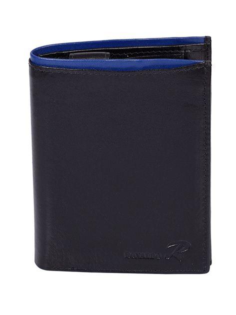 Czarny portfel skórzany męski z niebieskim wykończeniem